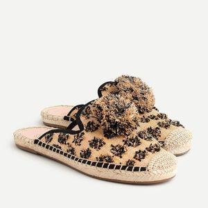 {J. Crew} Leopard Raffia Espadrille Pom-Poms Mules